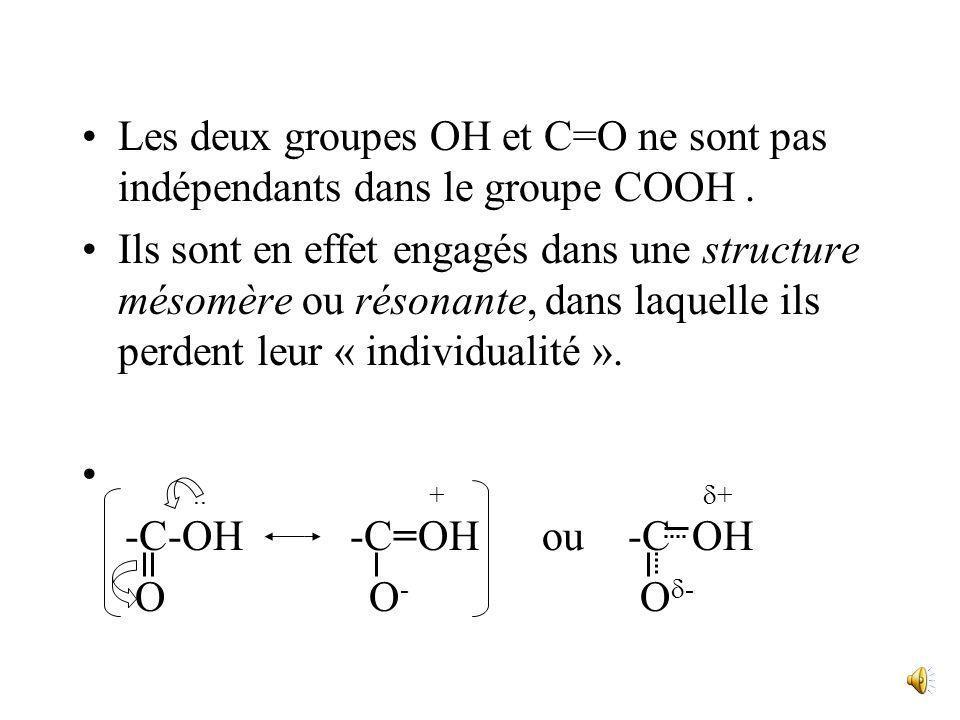 Les deux groupes OH et C=O ne sont pas indépendants dans le groupe COOH .