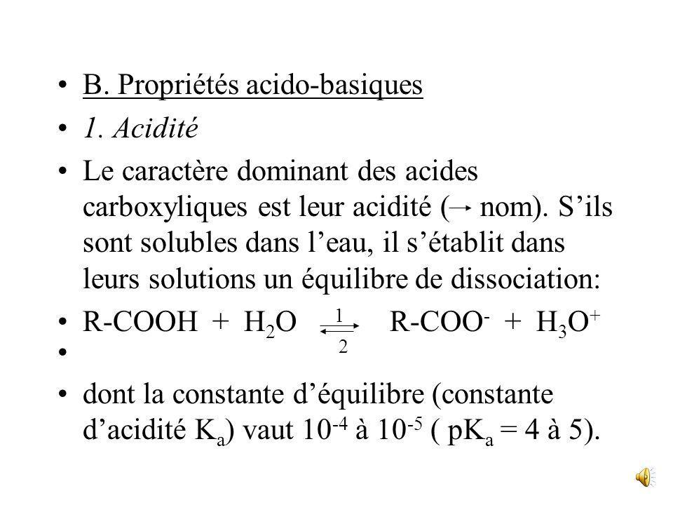 B. Propriétés acido-basiques