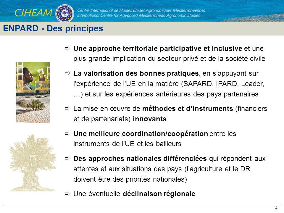 ENPARD - Des principes Une approche territoriale participative et inclusive et une plus grande implication du secteur privé et de la société civile.