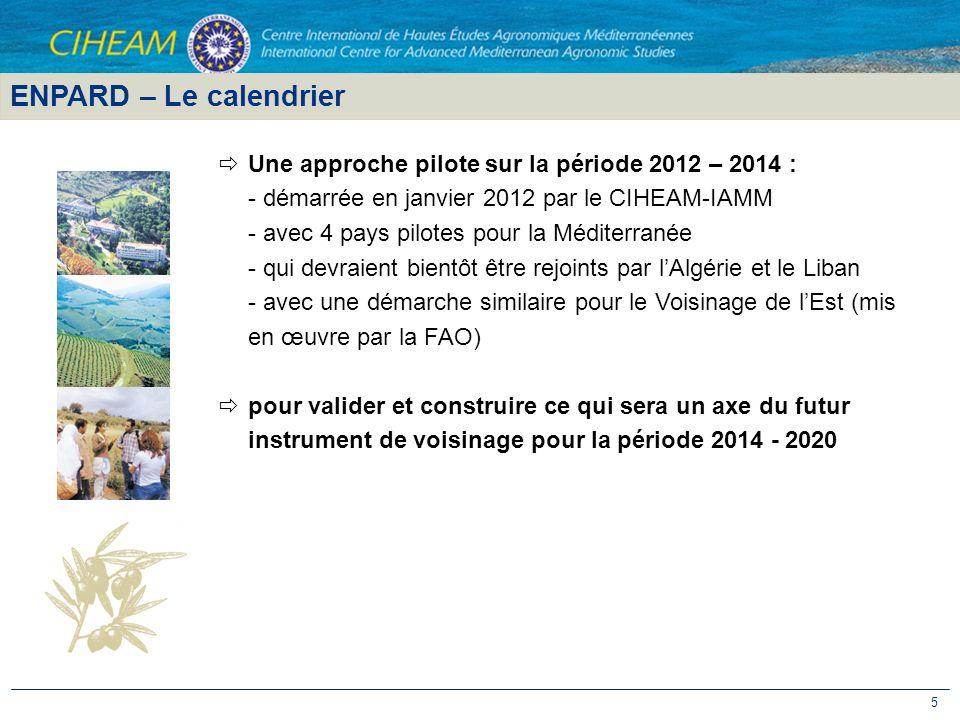 ENPARD – Le calendrier Une approche pilote sur la période 2012 – 2014 : - démarrée en janvier 2012 par le CIHEAM-IAMM.
