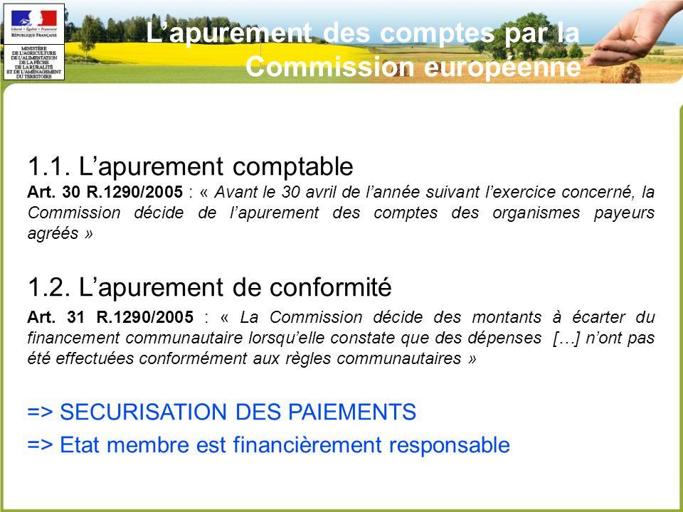 L'apurement des comptes par la Commission européenne