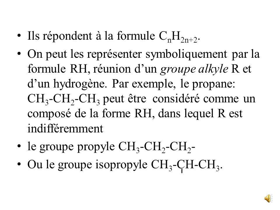 Ils répondent à la formule CnH2n+2.