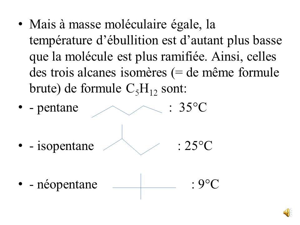 Mais à masse moléculaire égale, la température d'ébullition est d'autant plus basse que la molécule est plus ramifiée. Ainsi, celles des trois alcanes isomères (= de même formule brute) de formule C5H12 sont: