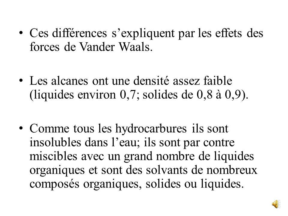 Ces différences s'expliquent par les effets des forces de Vander Waals.