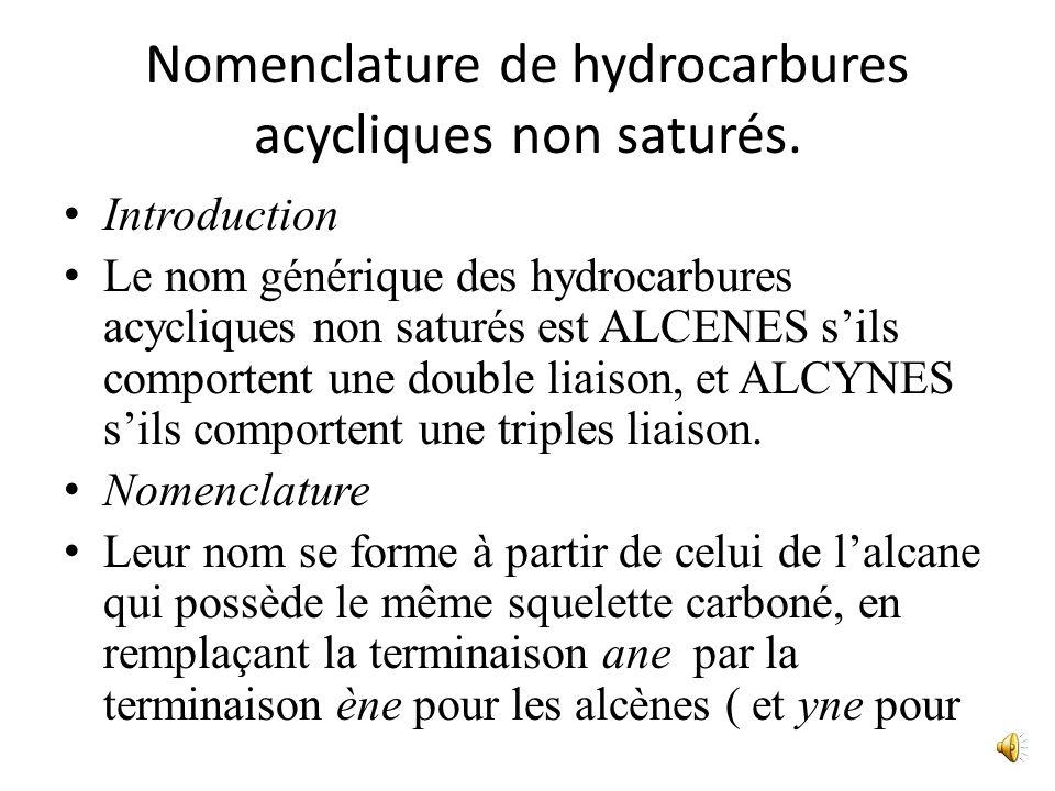 Nomenclature de hydrocarbures acycliques non saturés.