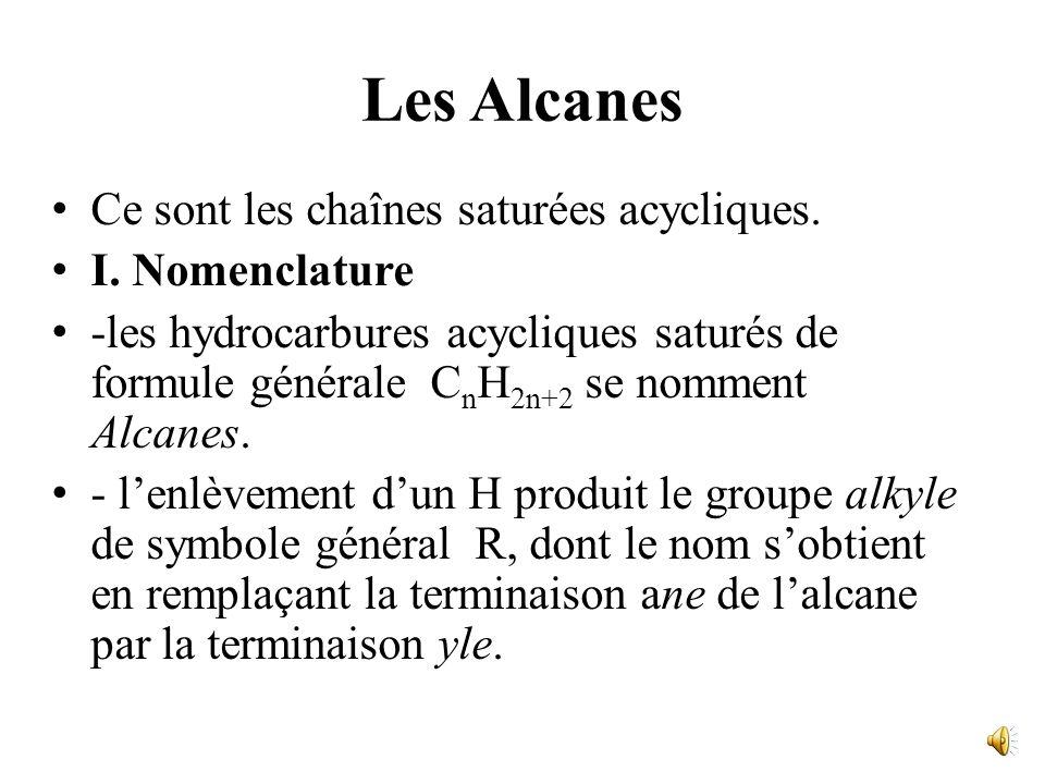 Les Alcanes Ce sont les chaînes saturées acycliques. I. Nomenclature