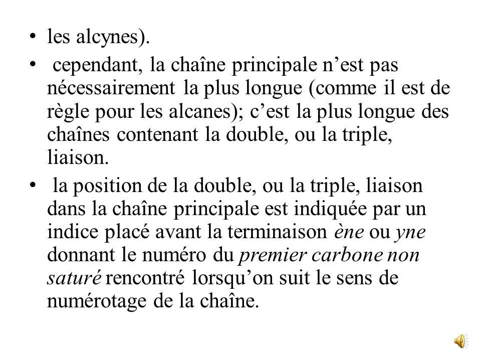 les alcynes).