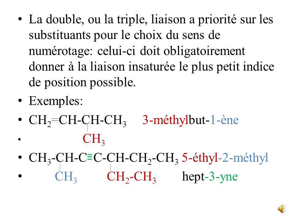CH2=CH-CH-CH3 3-méthylbut-1-ène CH3-CH-C C-CH-CH2-CH3 5-éthyl-2-méthyl