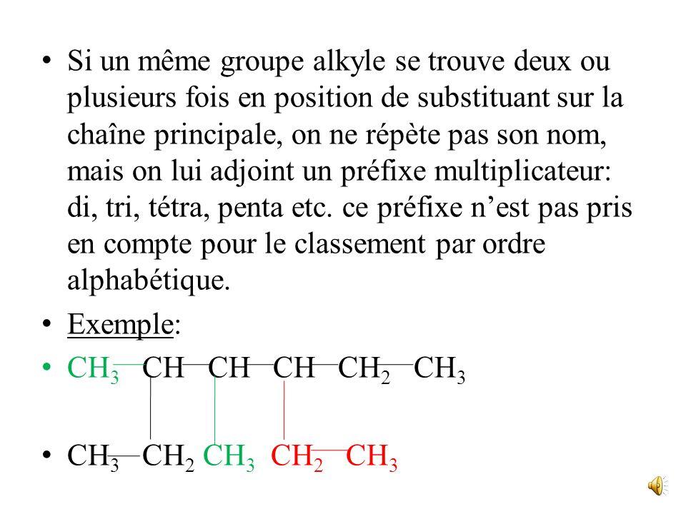 Si un même groupe alkyle se trouve deux ou plusieurs fois en position de substituant sur la chaîne principale, on ne répète pas son nom, mais on lui adjoint un préfixe multiplicateur: di, tri, tétra, penta etc. ce préfixe n'est pas pris en compte pour le classement par ordre alphabétique.