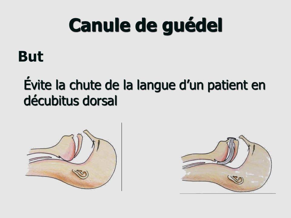 Canule de guédel But Évite la chute de la langue d'un patient en