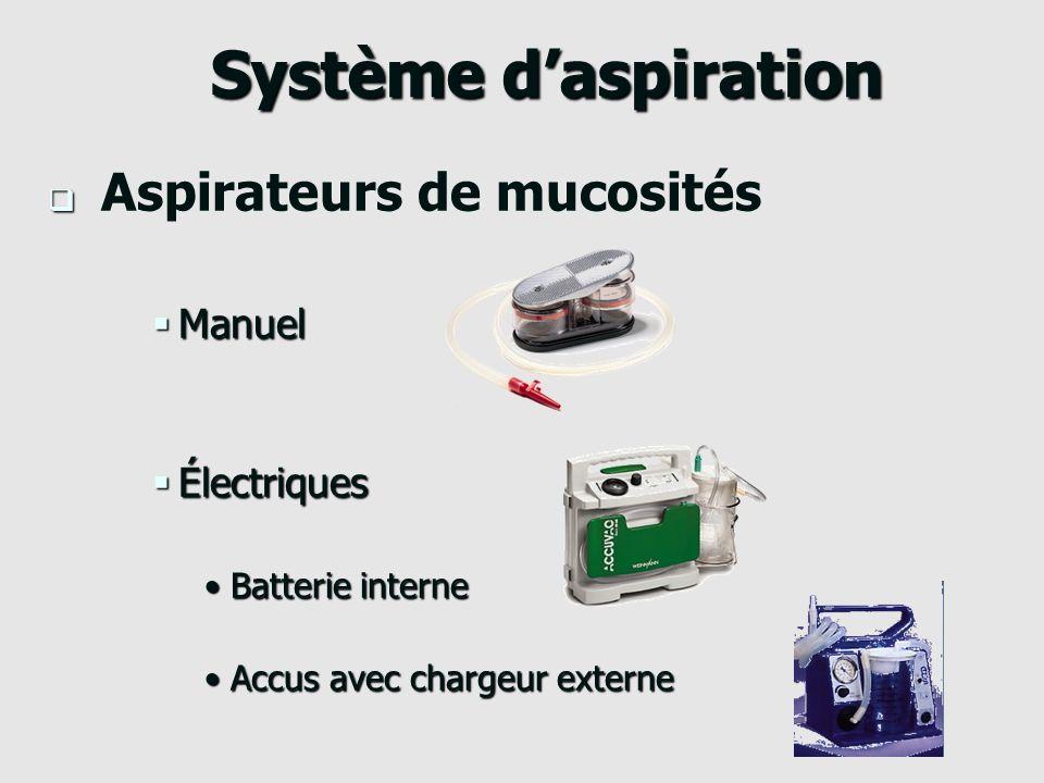 Système d'aspiration Aspirateurs de mucosités Manuel Électriques