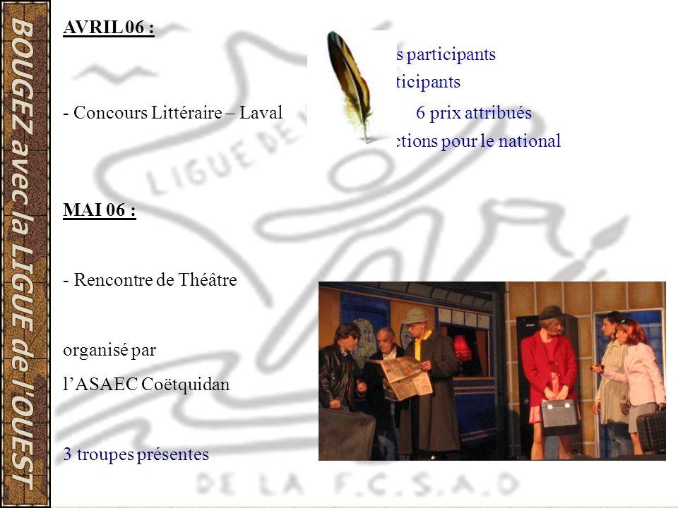 AVRIL 06 : 5 clubs participants. 11 participants. - Concours Littéraire – Laval 6 prix attribués.