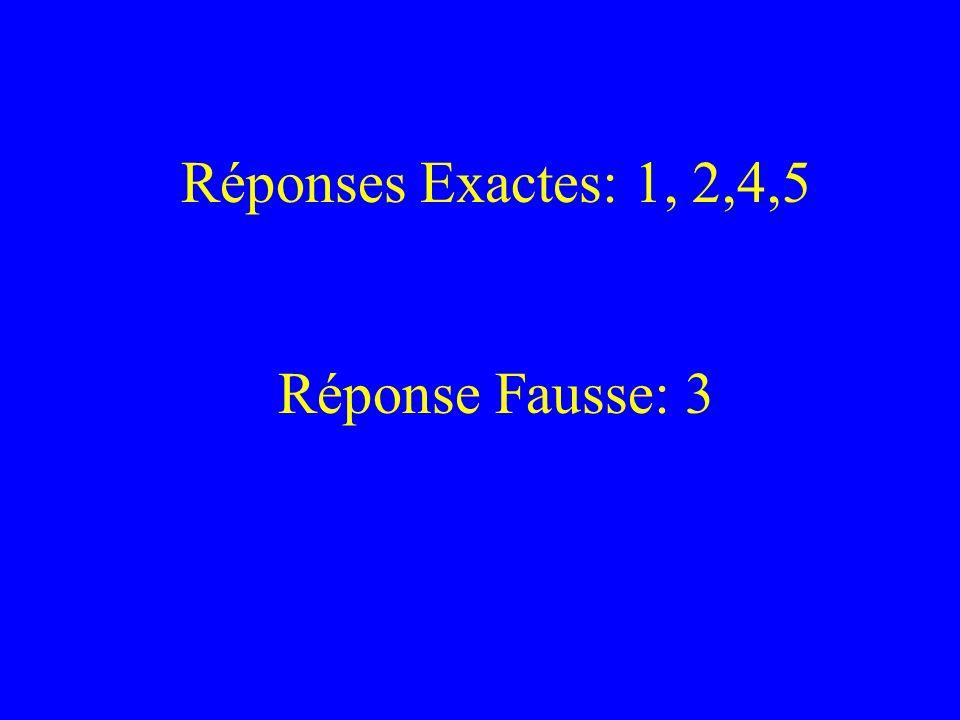 Réponses Exactes: 1, 2,4,5 Réponse Fausse: 3