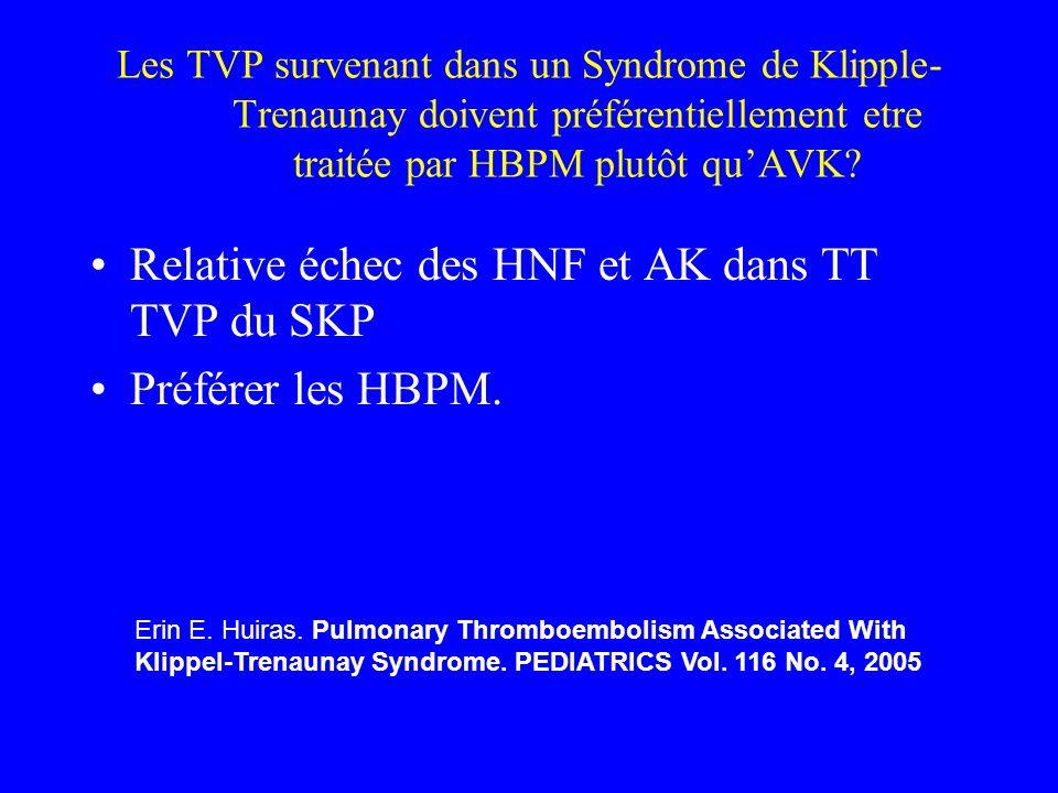 Relative échec des HNF et AK dans TT TVP du SKP Préférer les HBPM.