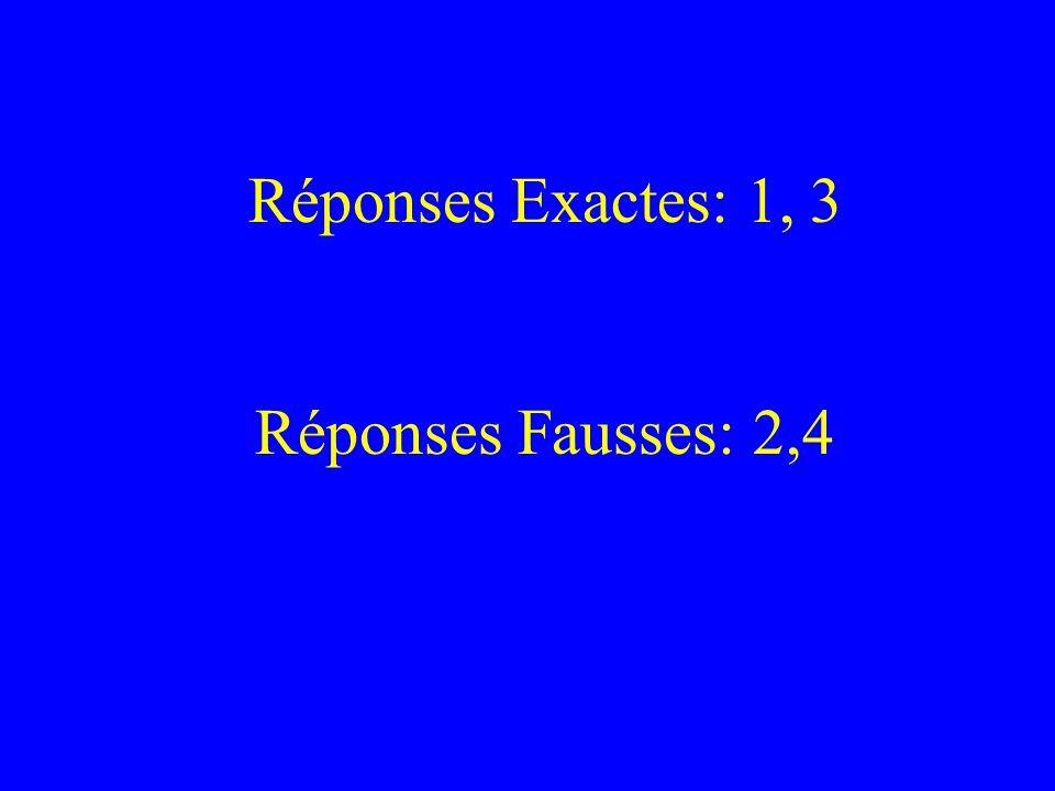 Réponses Exactes: 1, 3 Réponses Fausses: 2,4