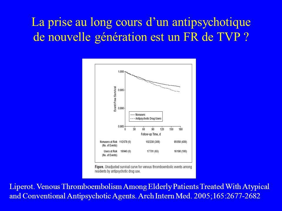 La prise au long cours d'un antipsychotique de nouvelle génération est un FR de TVP