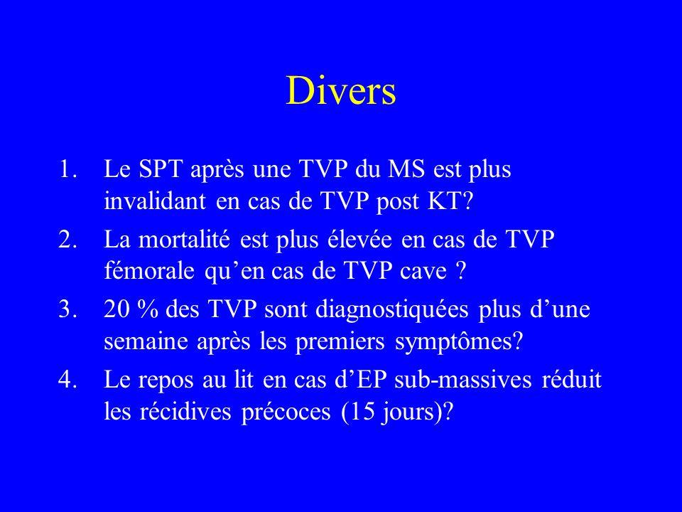 Divers Le SPT après une TVP du MS est plus invalidant en cas de TVP post KT