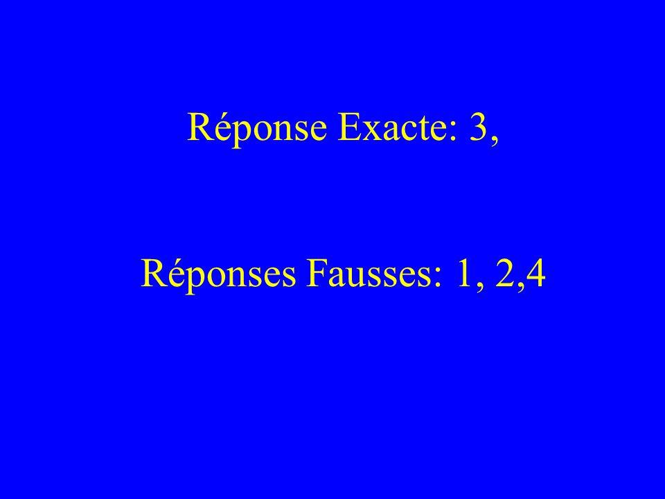 Réponse Exacte: 3, Réponses Fausses: 1, 2,4