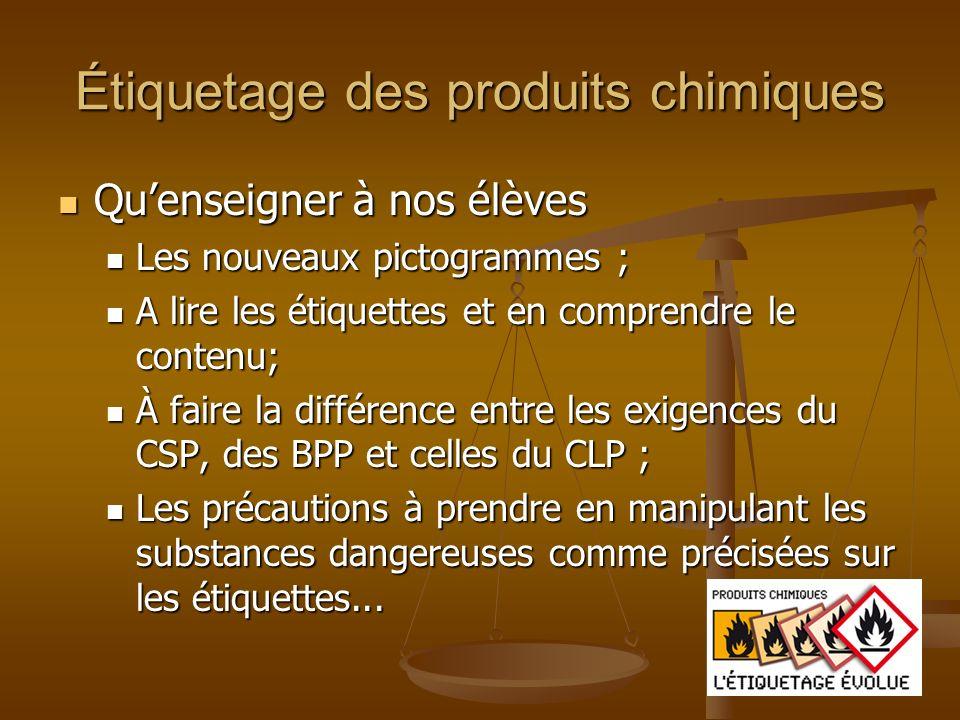 Étiquetage des produits chimiques
