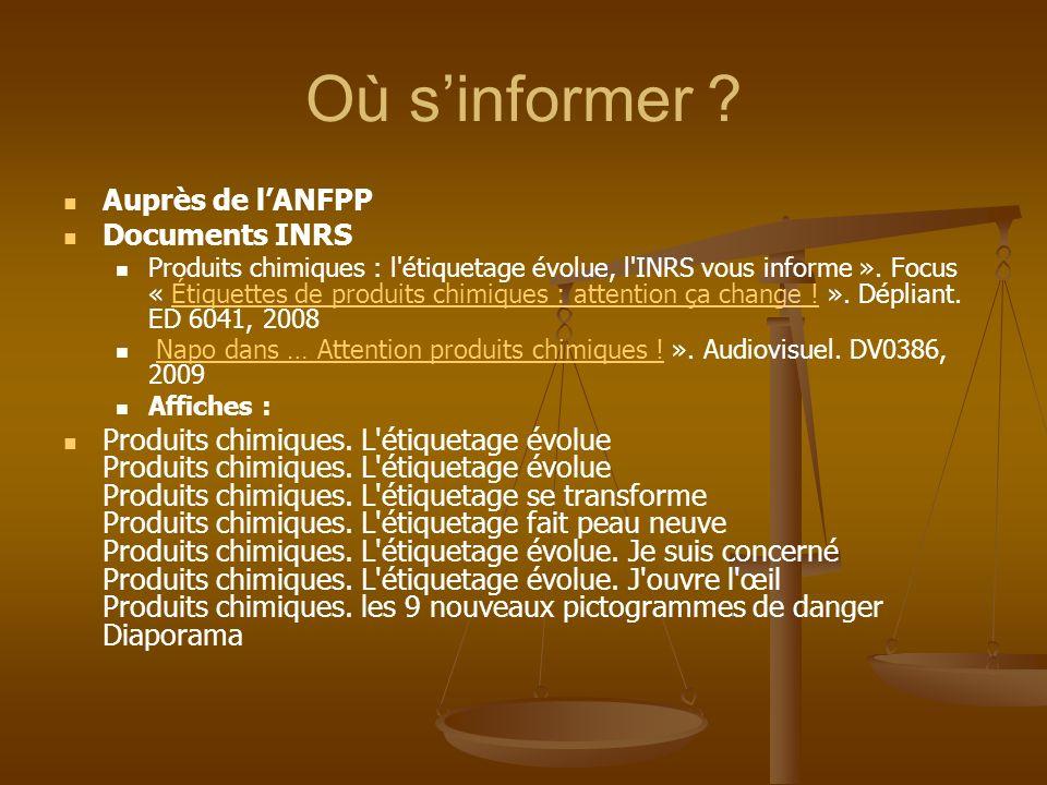 Où s'informer Auprès de l'ANFPP Documents INRS