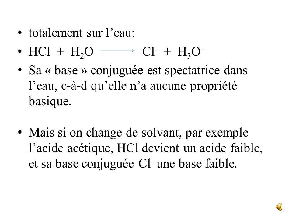 totalement sur l'eau: HCl + H2O Cl- + H3O+