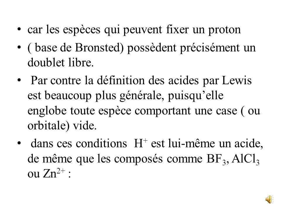 car les espèces qui peuvent fixer un proton