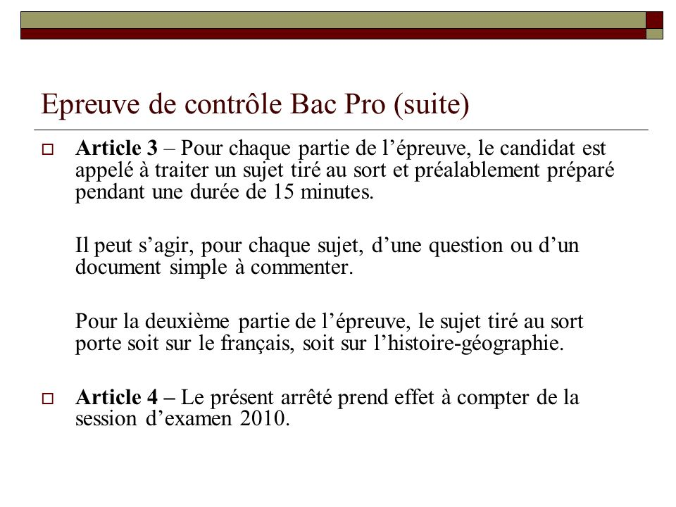 Epreuve de contrôle Bac Pro (suite)