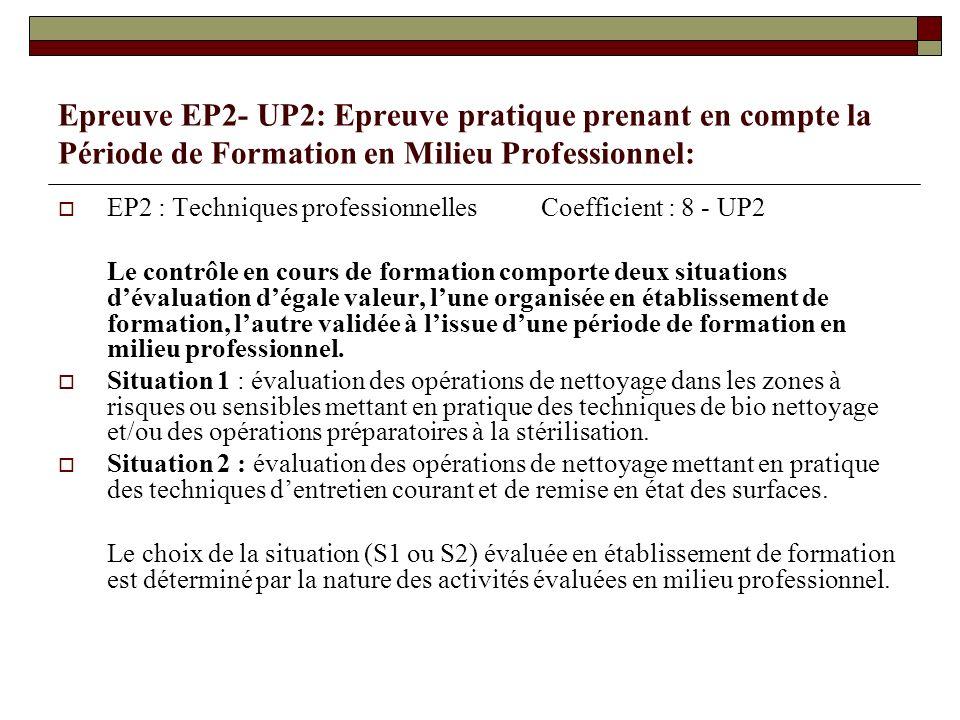 Epreuve EP2- UP2: Epreuve pratique prenant en compte la Période de Formation en Milieu Professionnel:
