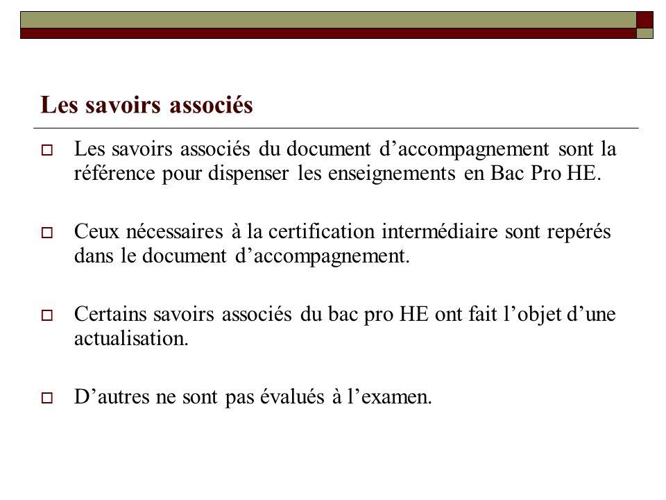 Les savoirs associés Les savoirs associés du document d'accompagnement sont la référence pour dispenser les enseignements en Bac Pro HE.