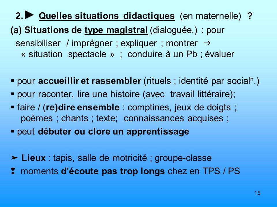2.► Quelles situations didactiques (en maternelle)