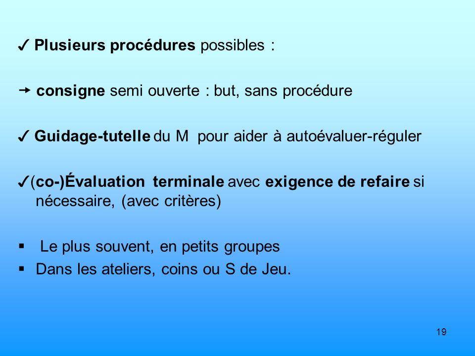 ✓ Plusieurs procédures possibles :