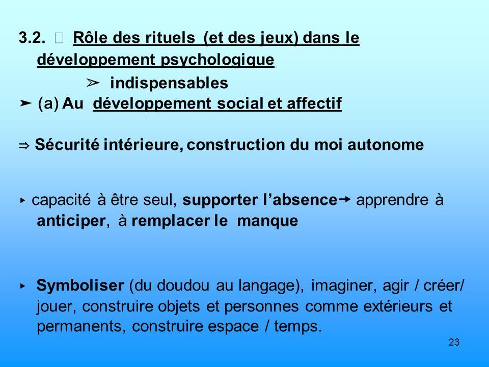 3.2.  Rôle des rituels (et des jeux) dans le développement psychologique