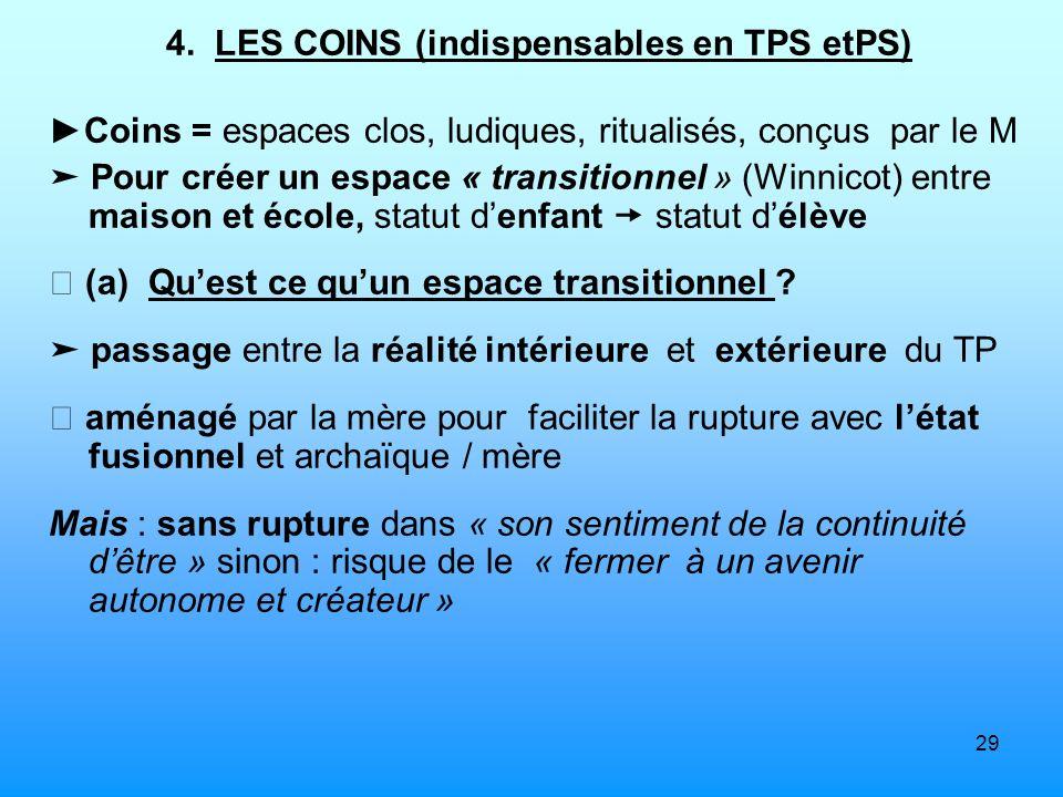 4. LES COINS (indispensables en TPS etPS)