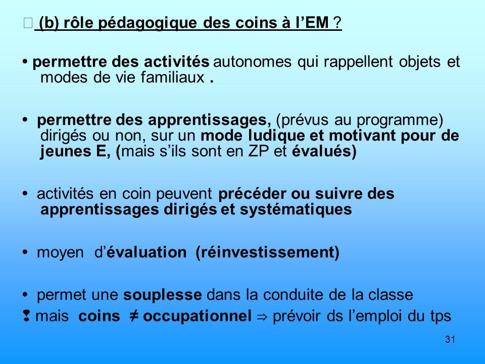  (b) rôle pédagogique des coins à l'EM