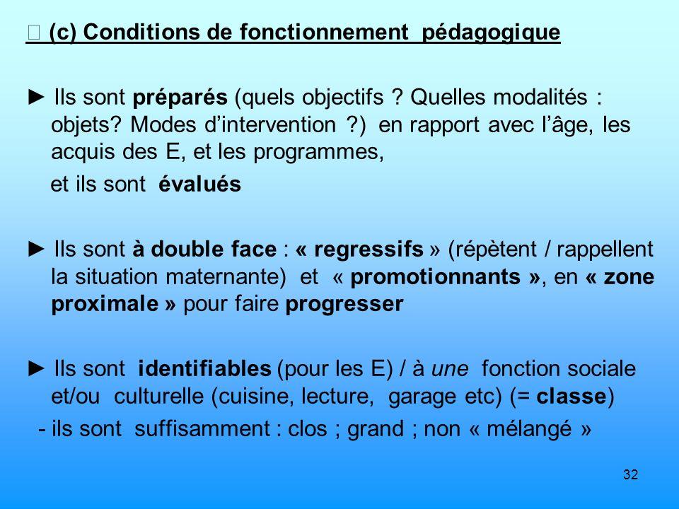  (c) Conditions de fonctionnement pédagogique