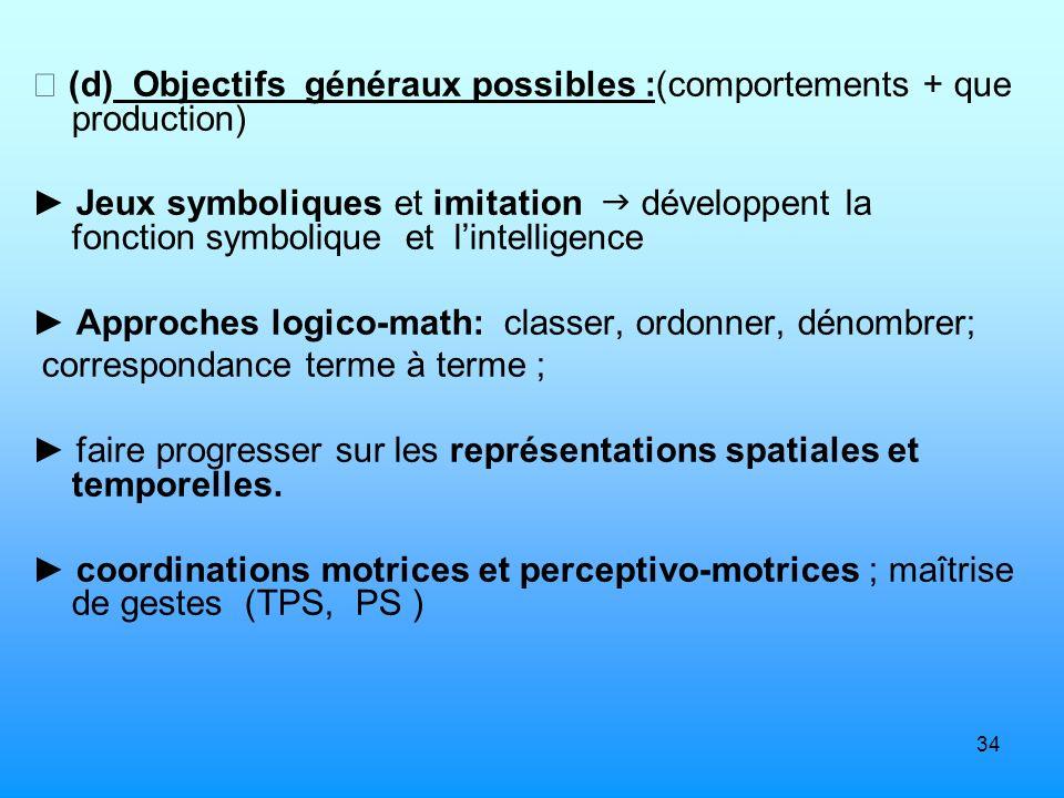  (d) Objectifs généraux possibles :(comportements + que production)