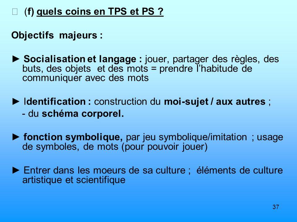  (f) quels coins en TPS et PS