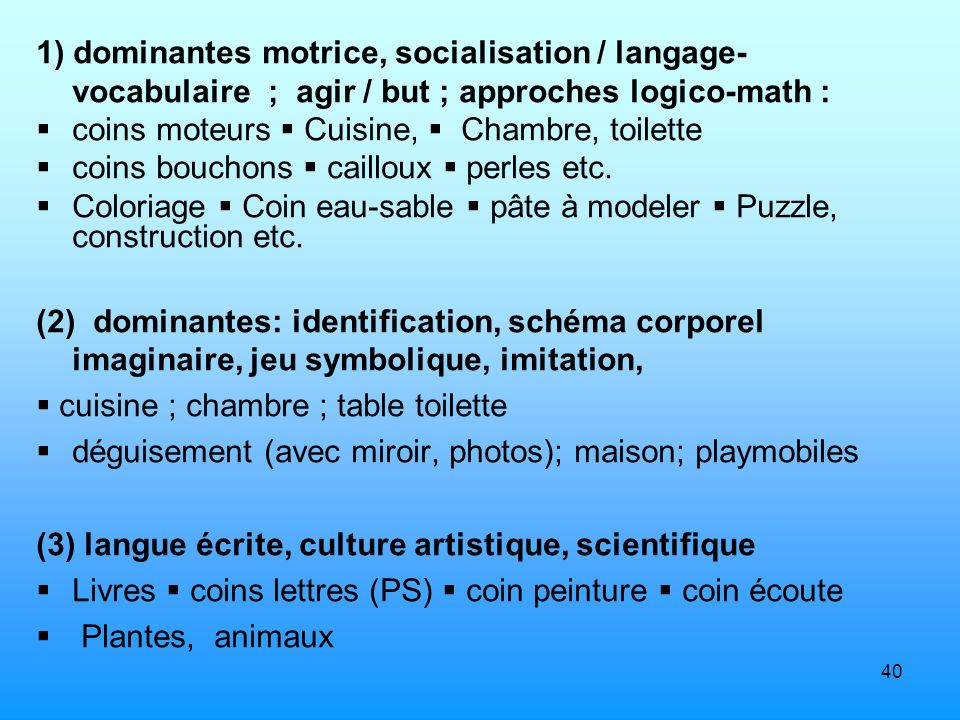 1) dominantes motrice, socialisation / langage-vocabulaire ; agir / but ; approches logico-math :