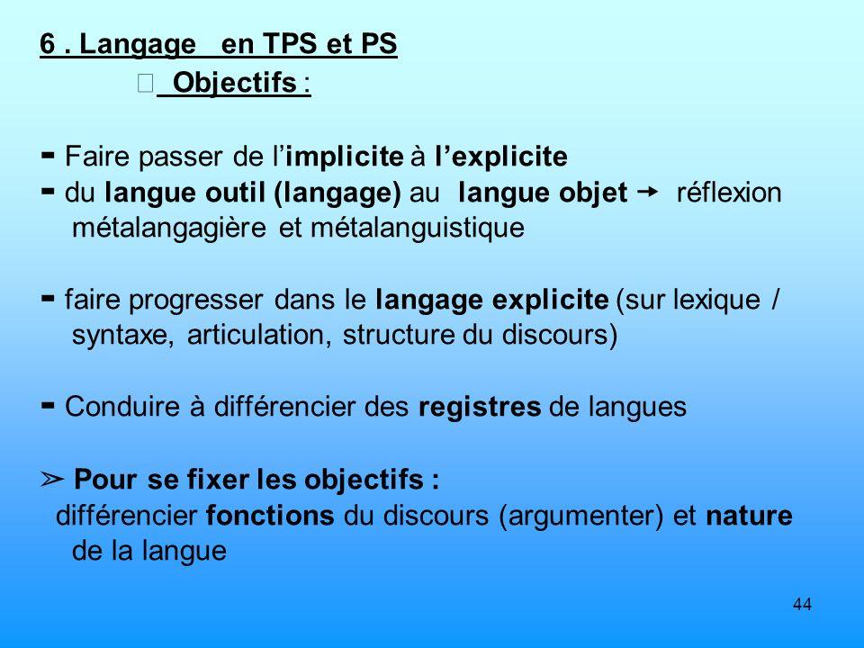 6 . Langage en TPS et PS  Objectifs : ▬ Faire passer de l'implicite à l'explicite.