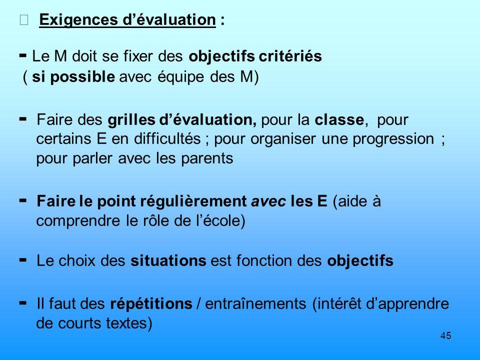  Exigences d'évaluation :