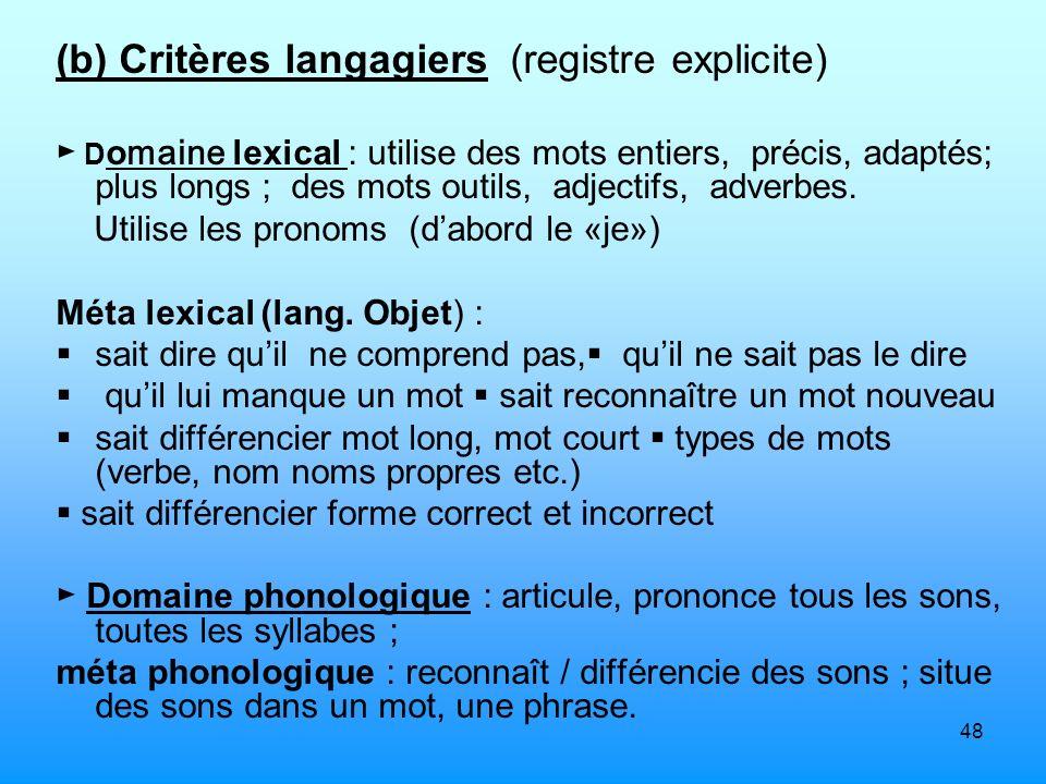 (b) Critères langagiers (registre explicite)