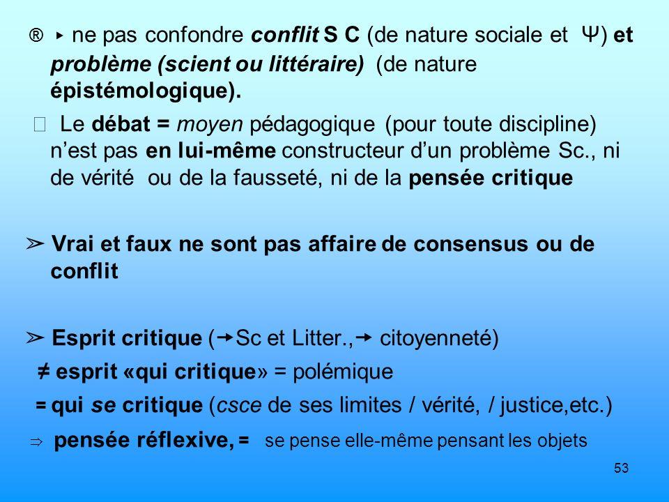 ➢ Vrai et faux ne sont pas affaire de consensus ou de conflit