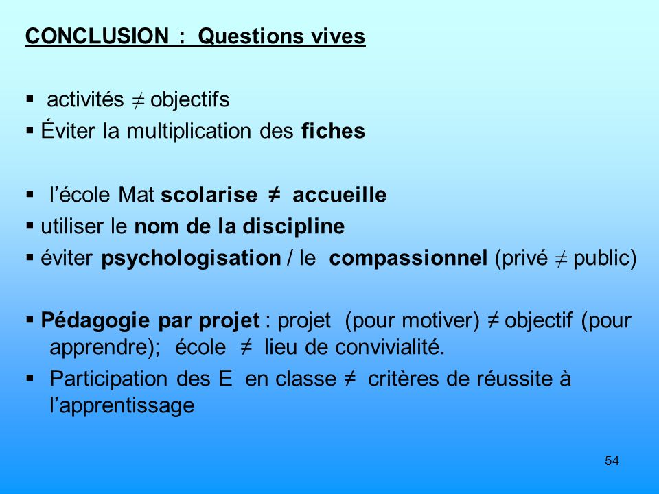 CONCLUSION : Questions vives