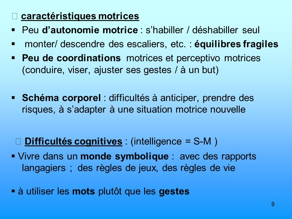  Difficultés cognitives : (intelligence = S-M )