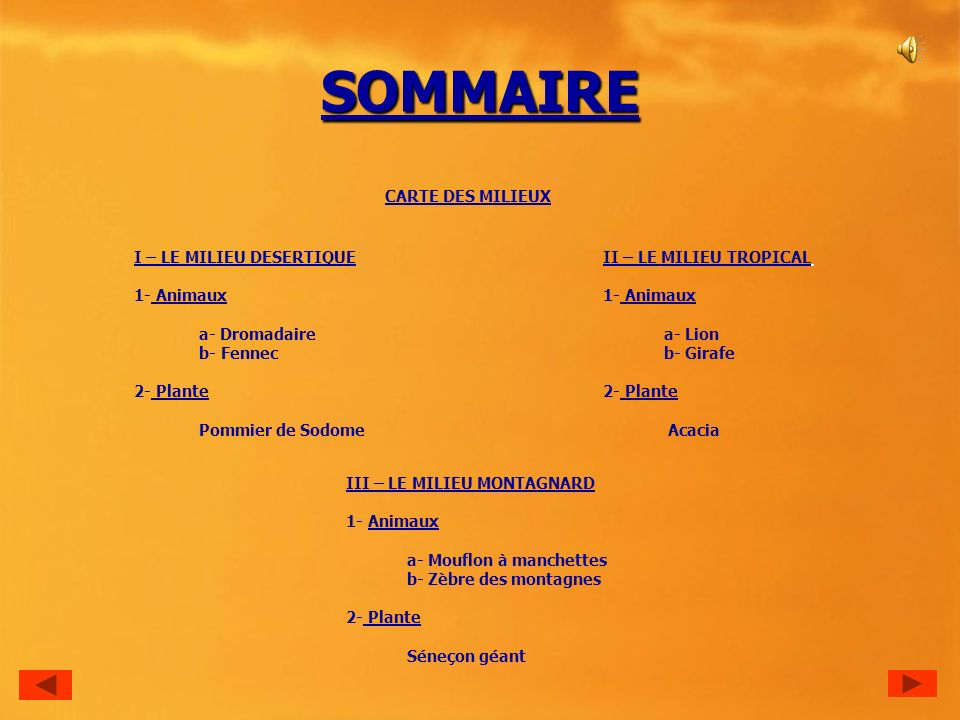 SOMMAIRE CARTE DES MILIEUX I – LE MILIEU DESERTIQUE 1- Animaux