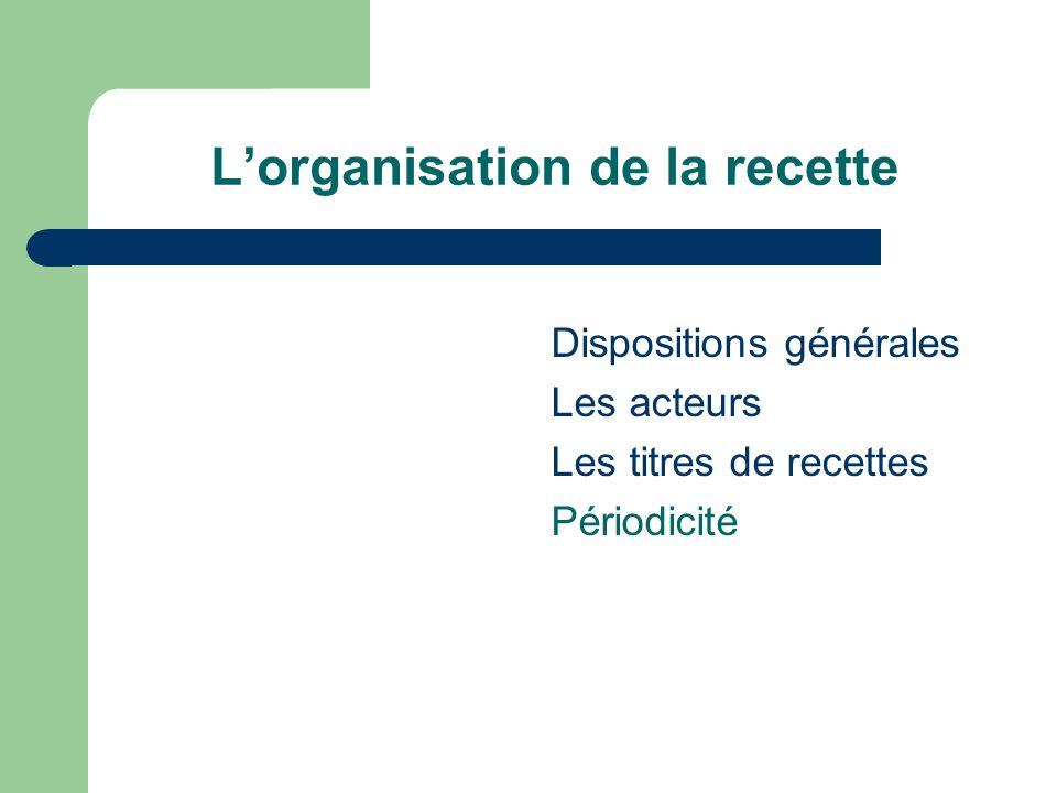 L'organisation de la recette