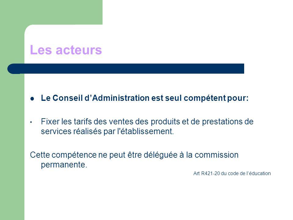 Les acteurs Le Conseil d'Administration est seul compétent pour: