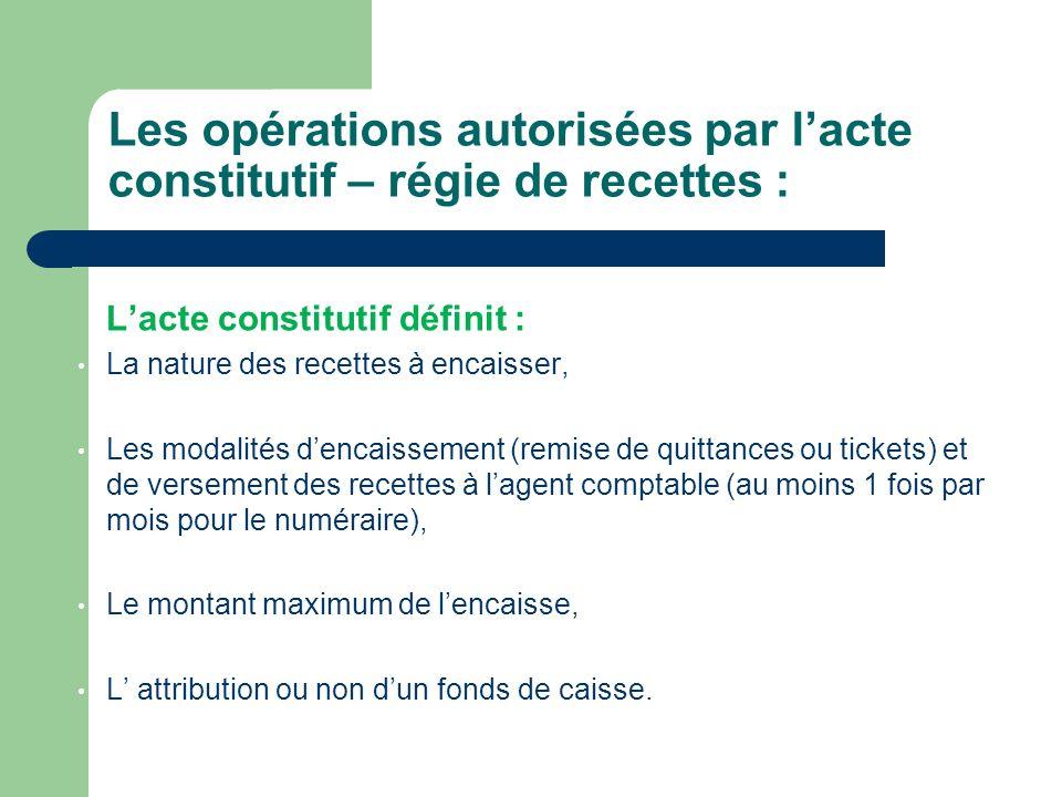 Les opérations autorisées par l'acte constitutif – régie de recettes :