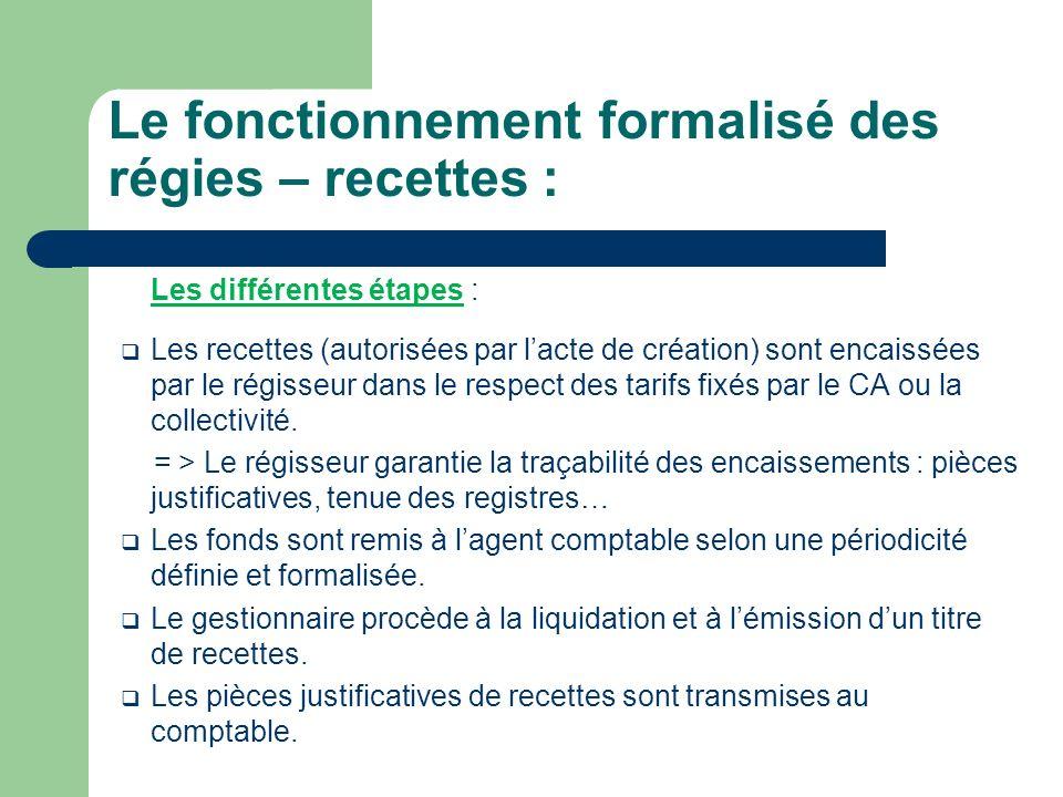 Le fonctionnement formalisé des régies – recettes :