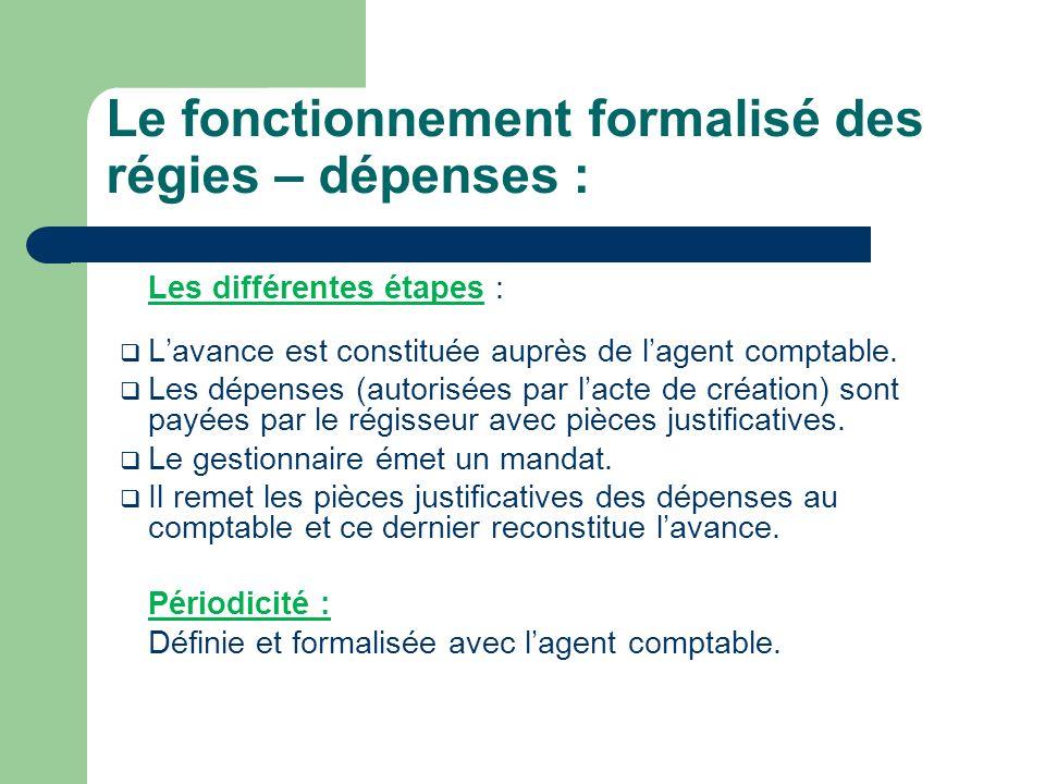 Le fonctionnement formalisé des régies – dépenses :
